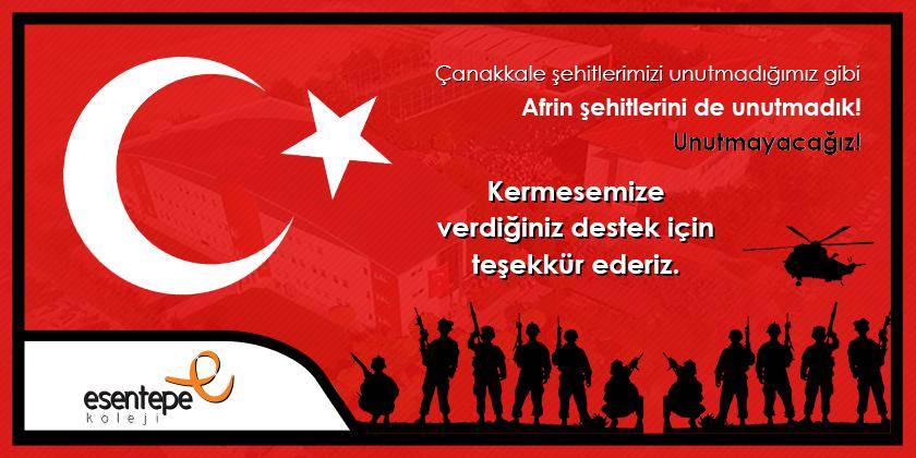 Mehmetçik Ailelerine Yardım İçin Düzenlediğimiz Kermesimize Desteğiniz İçin Teşekkür Ederiz.
