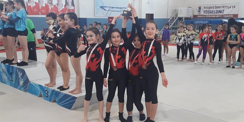 Minik Kızlar Cimnastik Müsabakalarında Konya 4.sü olduk...